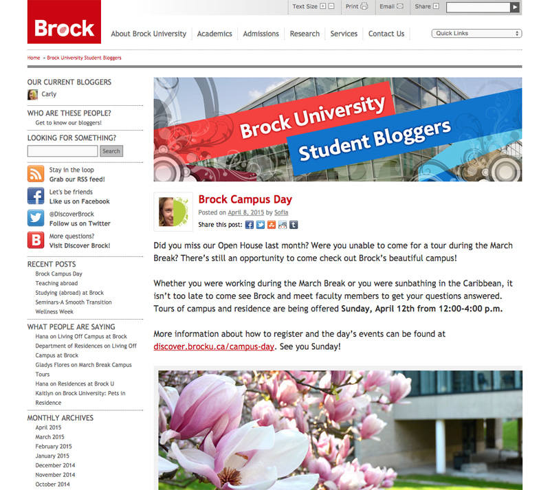 Brock University Student Bloggers