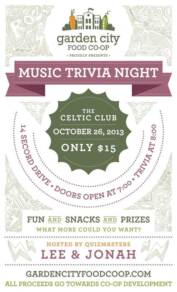 Garden City Food Co-op – Music Trivia Night Poster