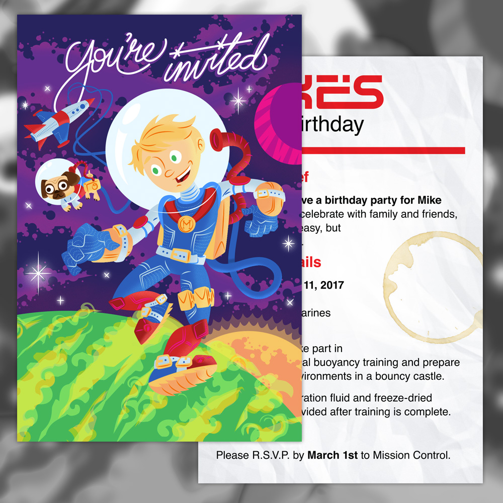 Astronaut Birthday Invitation