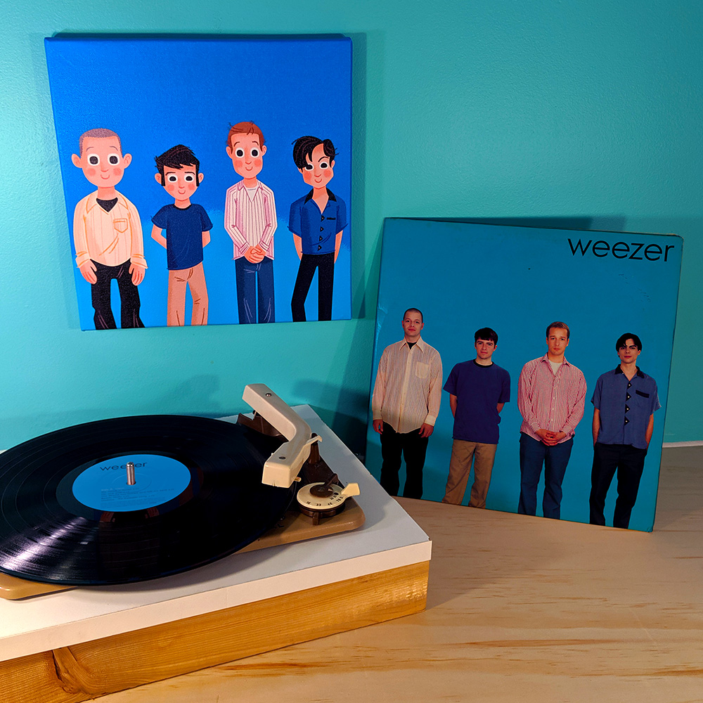 The Blue album, on canvas and on vinyl.