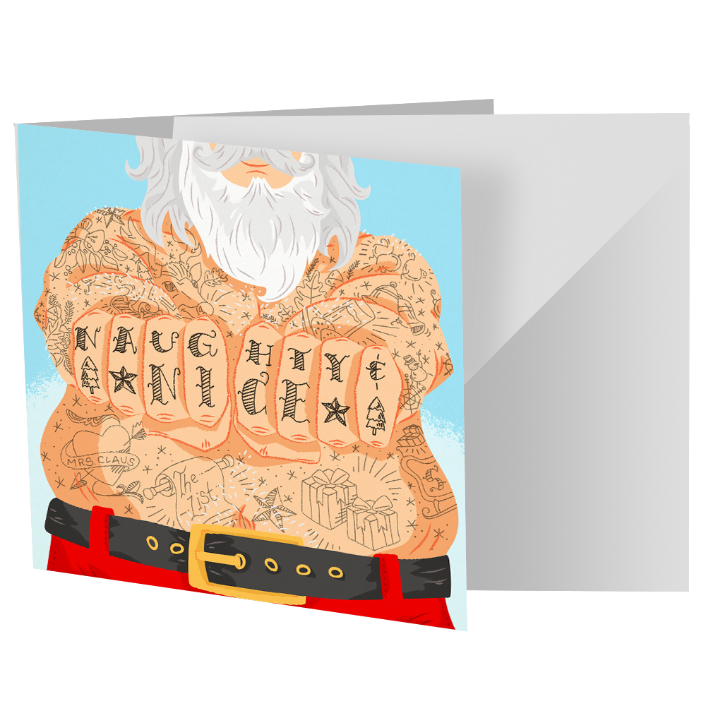 Santa With Tattoos Cards